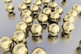 Gold nanoparticles, 3D illustration. Biotechnological and scientific background (Forrás: 123rf.com)