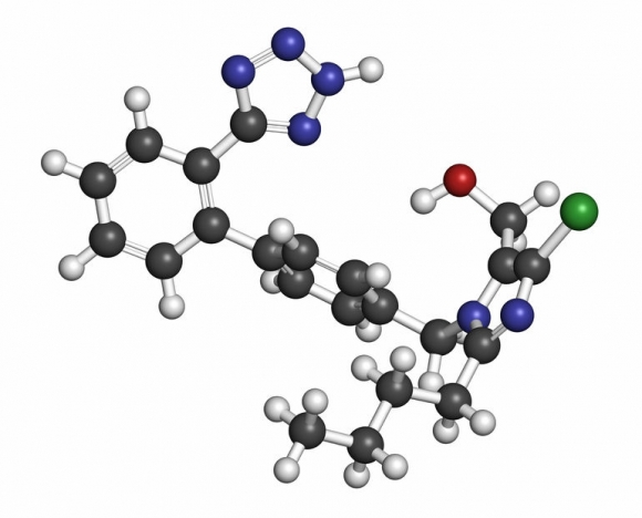 Losartan hypertension drug molecule. Atoms are represented as spheres with conventional color coding: hydrogen (white), carbon (grey), oxygen (red), nitrogen (blue), chlorine (green). Forrás: 123rf.hu